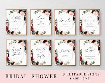 Bridal shower signs set Editable template Bridal signage Custom sign Printable Bundle Wedding Burgundy Blush Download #swc9