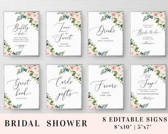 Bridal shower signs set Editable template Bridal signage Custom sign Printable Bundle Wedding Blush Download #swc6