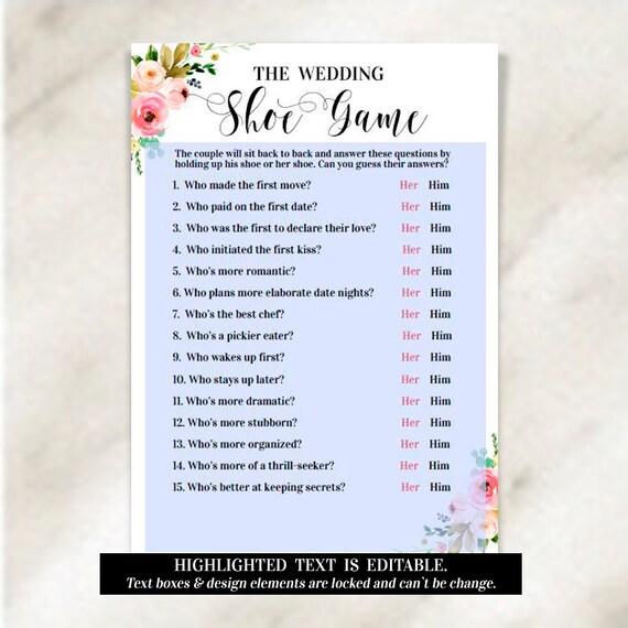 The Wedding Shoe Game Printable Wedding Editable Template Pdf Bridal Shower Games Instant Download