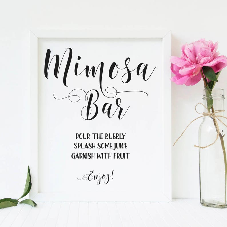 photograph about Mimosa Bar Sign Printable titled Mimosa bar printable Mimosa bar signal Bridal brunch and bubbly indication Bachelorette celebration signs and symptoms Wedding ceremony consume signal Bridal shower decorations