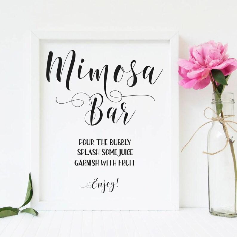graphic about Mimosa Bar Sign Printable referred to as Mimosa bar printable Mimosa bar signal Bridal brunch and bubbly signal Bachelorette occasion indications Wedding ceremony consume indication Bridal shower decorations