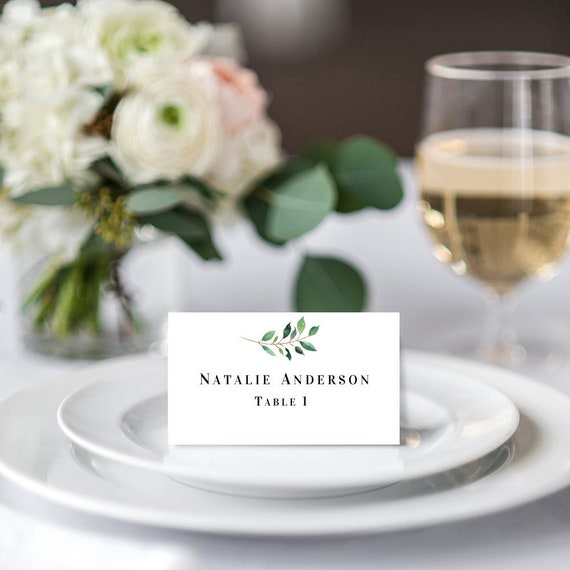 wedding table name cards greenery place cards editable etsy