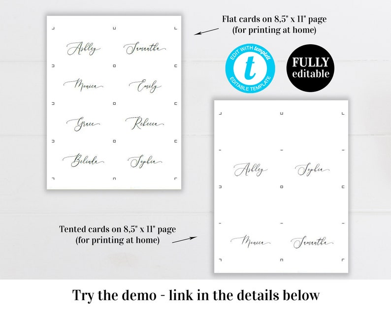 Printable wedding place card Editable template Table name cards Flat and Folded Escort cards DIY Digital Download Templett
