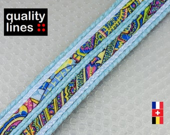 X 18 cm, 24mm flat blue multicolored, 18 cm raffia cord is enough for a bracelet up to size XL