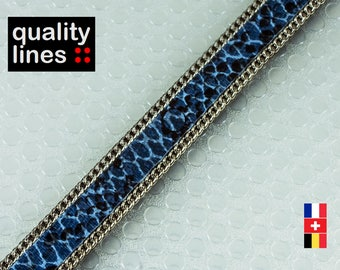 X 18 CM, flat leather 10mm blue silver chains, 18cm is enough for a XL bracelet holding Max 1 M