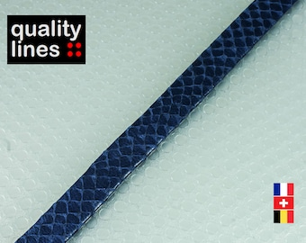 X 1 M, flat leather 10mm blue effect snake by the yard