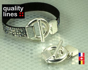 Fermoir Toggle  argenté   en zamak pour cuir plat trou 10mm  /2mm pour bracelet