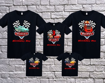 Custom Cars Birthday Shirt T Name Age Personalized Party Lightning McQueen