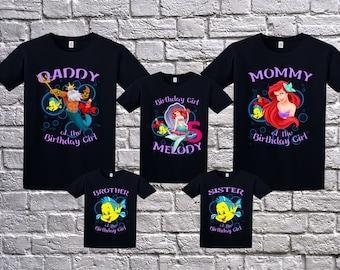 The little mermaid  Birthday Shirt, Personalized the little mermaid shirt, the little mermaid birthday party, Little mermaid family shirts