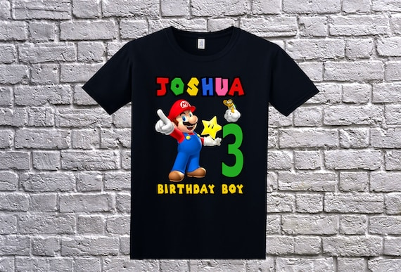 Child's Personalised Mario Birthday Boy T-shirt