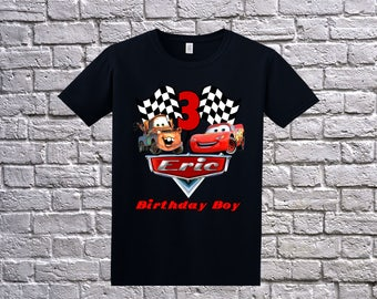 Cars birthday shirt, Cars Birthday T-Shirt, Cars Name Age, Custom Cars Shirt, Personalized Cars, Cars Birthday Party, Lightning McQueen