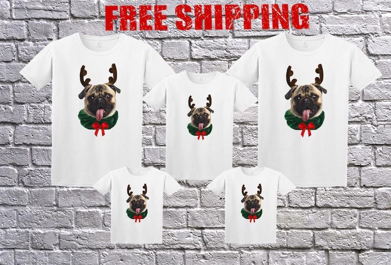 Family Funny Pug Ugly Christmas White Long Sleeve and T-shirt image 1