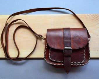 078d603b7d1f Small geniune leather saddle bag Cross body boho hippie purse Brown  shoulder minimalist medicine bag Belt Strap saddle Purse