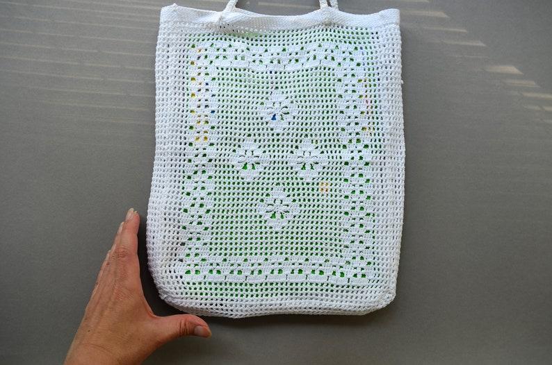 White cotton vegan shopper bag Top handle purse crochet knit bag Market grocery mesh bag Retro boho purse Beach bag Bohemian handbag