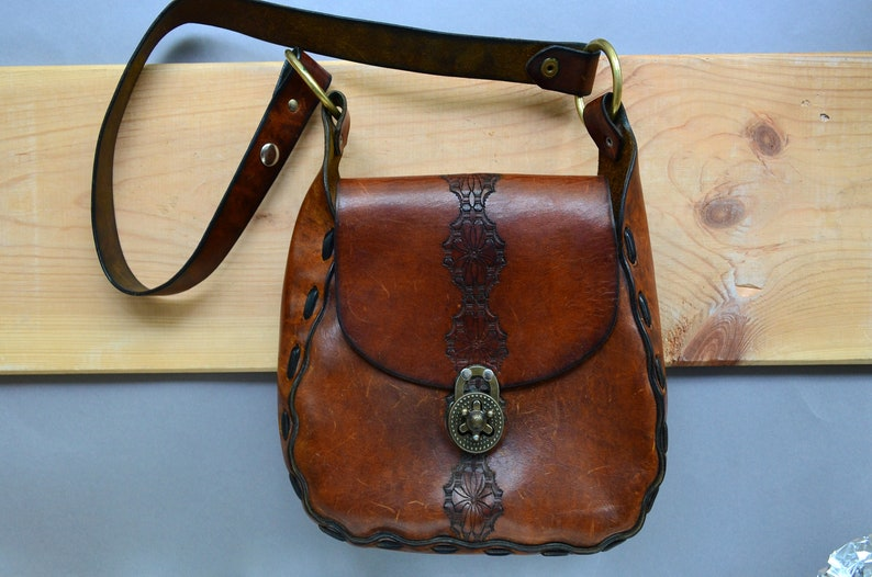 4a8172c3f3f2 Tooled leather saddle bag Tobacco brown boho purse Cowgirl cowhide embossed  thic... Tooled leather saddle bag Tobacco brown boho purse Cowgirl cowhide  ...