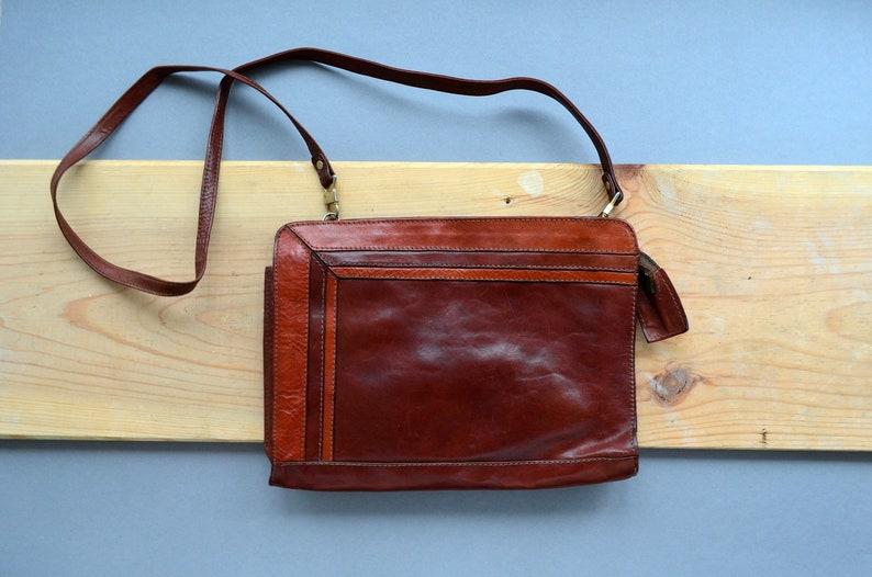 efc1cb060 Small messenger genuine leather bag Cognac browm soft leather | Etsy