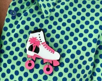 Metal Enamel Pin Badge Brooch Roller Skate Skater Roller Derby Foot Shoe Black