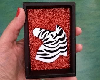 Zebra Animal Safari Brooch Plastic jewelry Acrylic Jungle Christmasgift Xmas