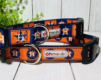 "Dog Collar, Houston Astros, Matching Leash Option, 1"" wide"