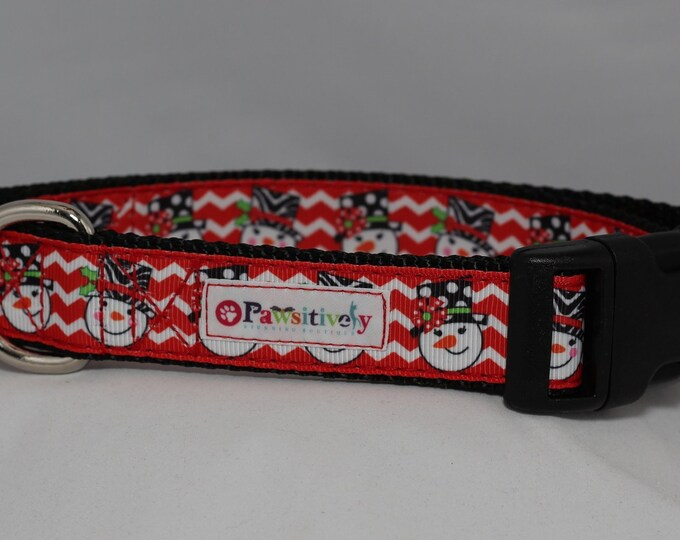 "Holiday Snowmen 1"" Dog Collar"