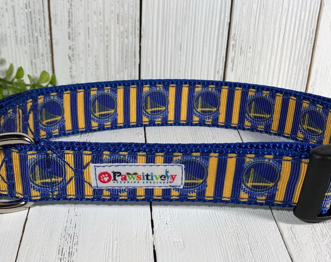 "1"" Dog Collar Golden State Warriors with Matching Leash Option"