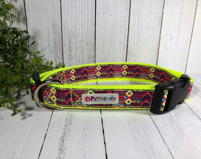 Dog Collar Aztec, Tribal Pattern, Yellow Webbing, Optional Matching Leash