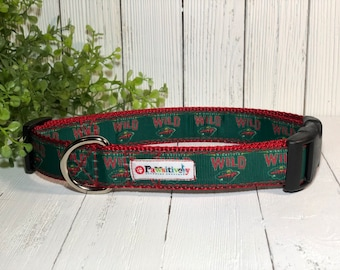 "Minnesota Wild, Dog Collar, Matching 6 ft. Leash Option, 1"" Wide"