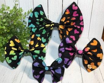 Pet Bow, Multi Colored, Hearts, Pet Accessory