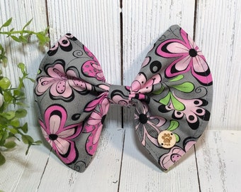 Bow, Pink Floral on Gray, Dog Accessory