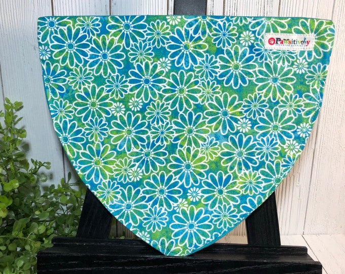Dog Bandanna, Blue, Green, Floral, Reversible, Slip On Collar