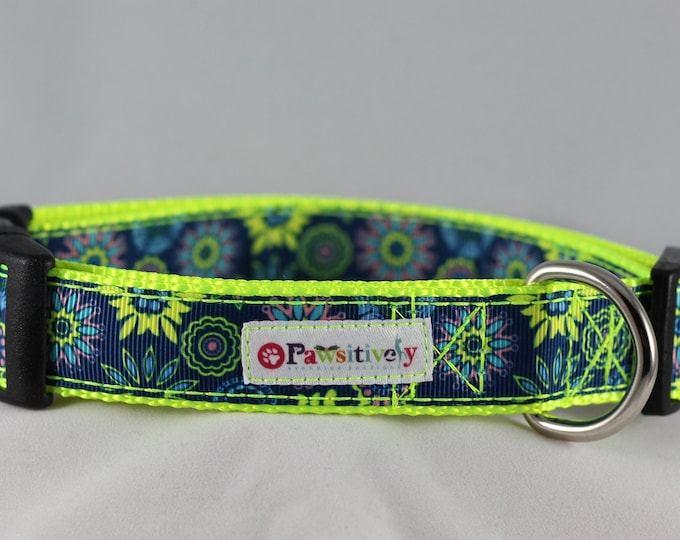 "Dog Collar 1"" Blue / Neon Yellow Floral"