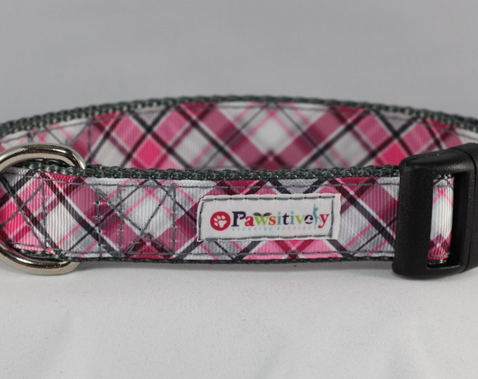 "Dog Collar Plaid 1"" Pink/Gray"