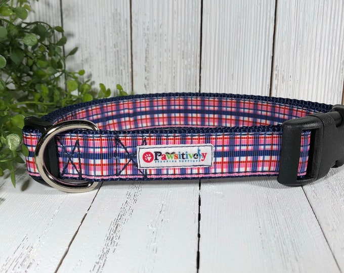 Dog Collar Pink, Blue, Plaid, Optional Matching Leash