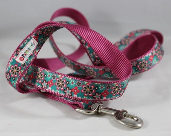 Pet Leash Pink and Green Flowered Ribbon