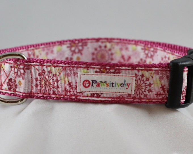 "Pink/Rose Snowflake 1"" Dog Collar"