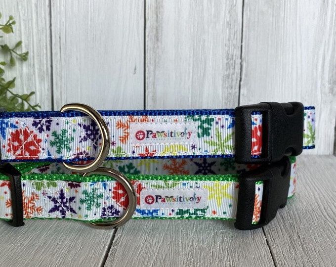 """Colorful Snow Flakes 1""""Dog Collar"""