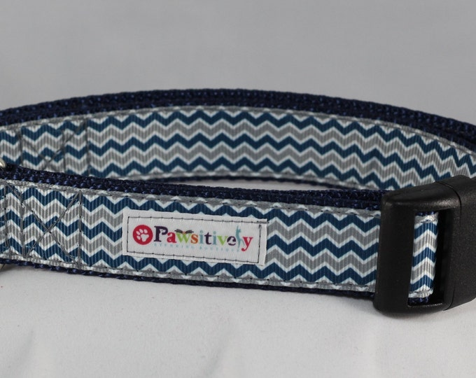 "1"" Blue/Gray Chevron Dog Collar"