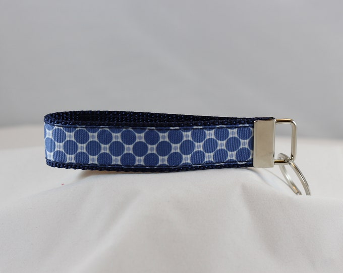 Blue Denim Dots Key Chain