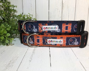 "Chicago Bears, Dog Collar, Matching 6 ft. Leash Option, 1"" Wide"