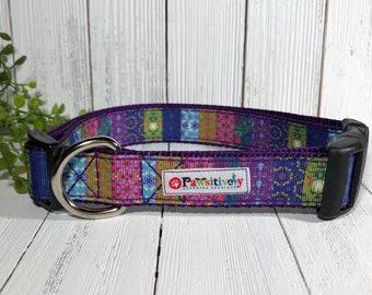 Dog Collar Boho Pattern, Purple, Optional Matching Leash