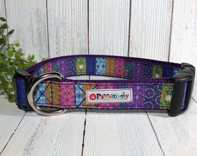 Dog Collar Boho Pattern, Purple, Optional Matching Leash