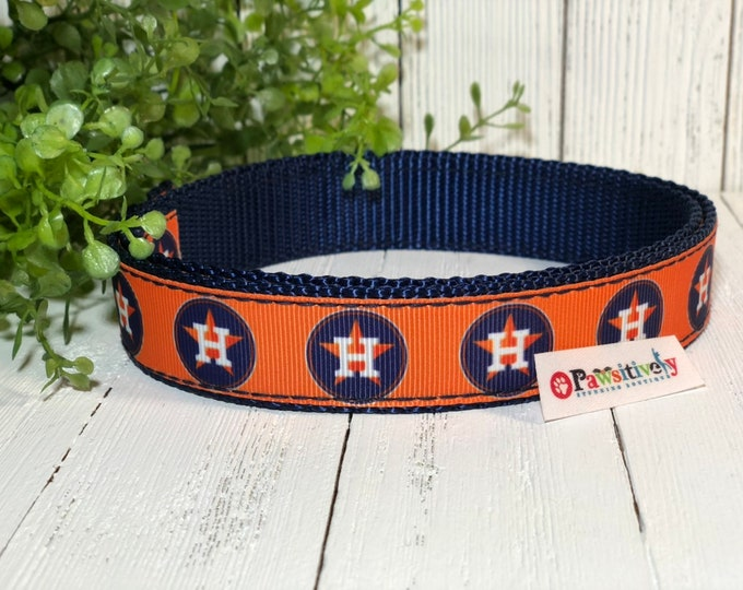 "Dog Collar, Houston Astros, Matching Leash Option, 1"" wide"
