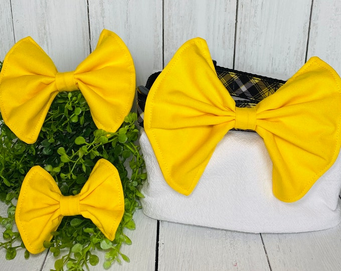 Bright Yellow Bow / Bow Tie for Pet Collar