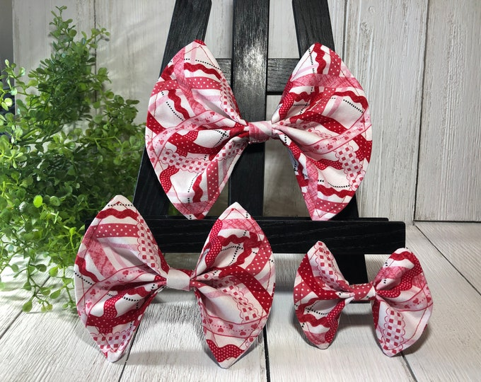 Pet Bow, Red, White