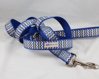 Pet Leash Blue / Gold Chevron