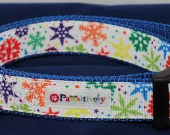 "1"" Colorful Snowflakes Dog Collar"