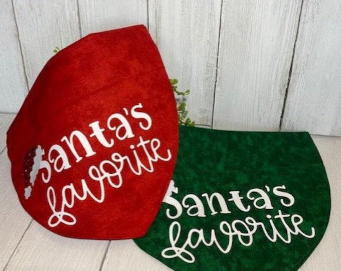 Santa's Favorite Christmas Personalized Bandanna,  Slip On the Collar
