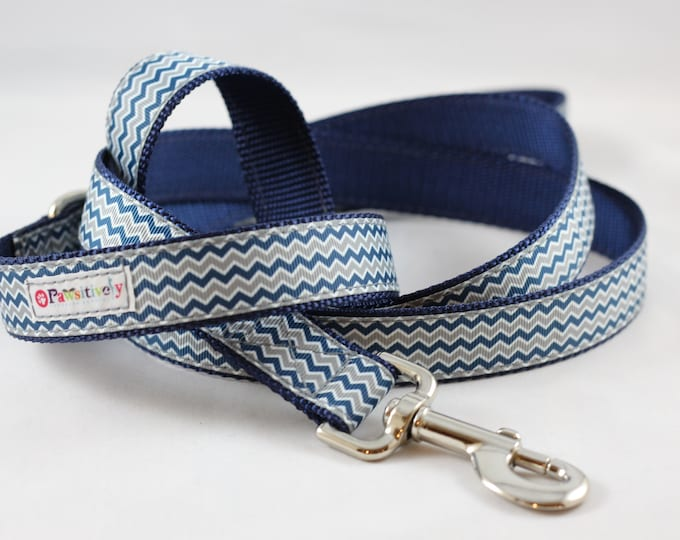 Pet Leash Blue/Gray Chevron