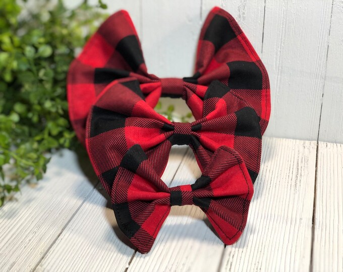 Pet Bow Red Buffalo Check