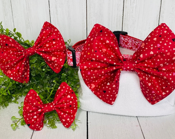 Tiny Valentine's Day Hearts Bow / Bow Tie for Pet Collar